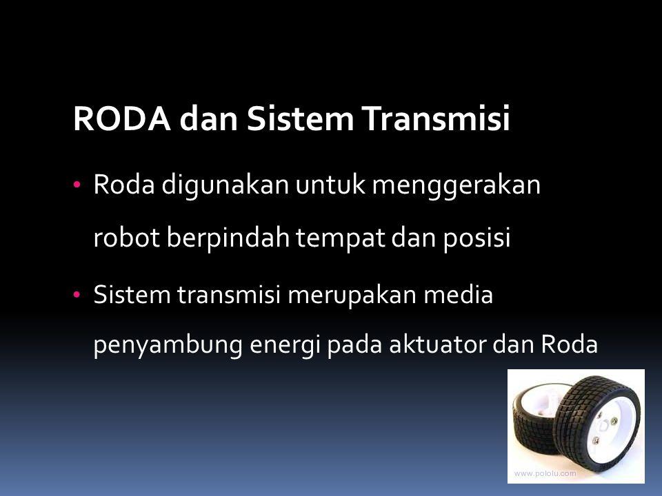 RODA dan Sistem Transmisi Roda digunakan untuk menggerakan robot berpindah tempat dan posisi Sistem transmisi merupakan media penyambung energi pada a