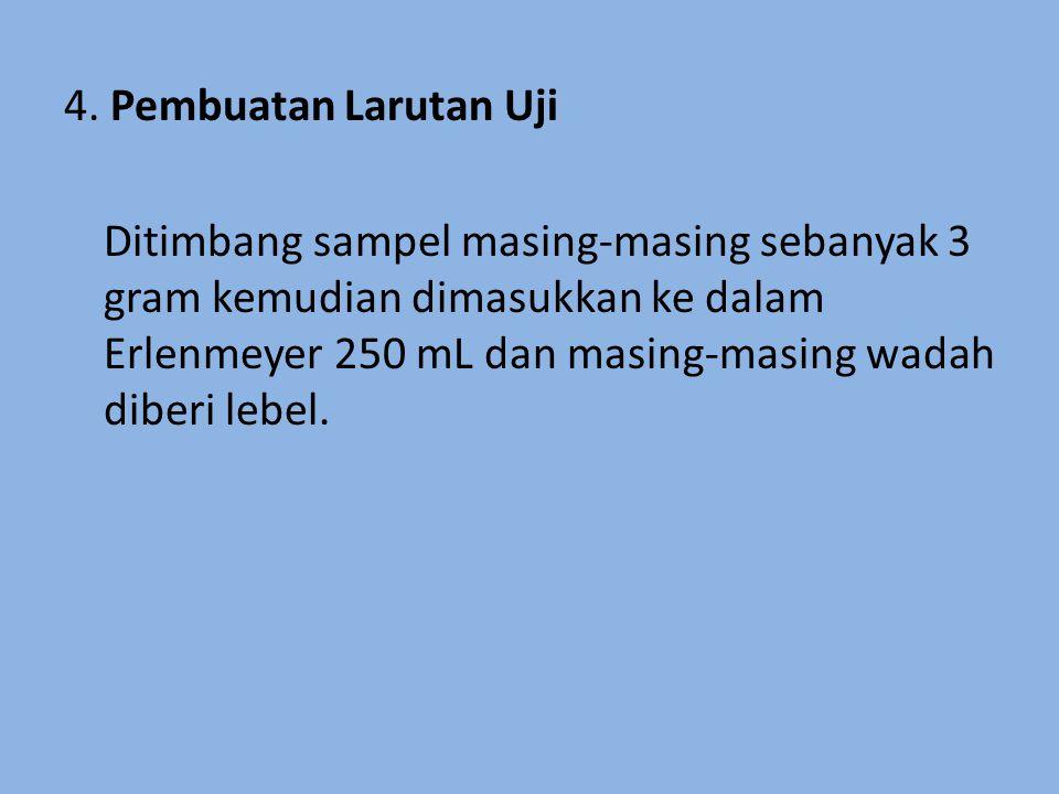 4. Pembuatan Larutan Uji Ditimbang sampel masing-masing sebanyak 3 gram kemudian dimasukkan ke dalam Erlenmeyer 250 mL dan masing-masing wadah diberi