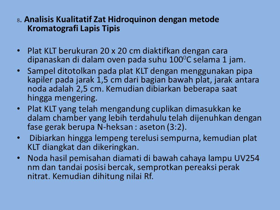 8. Analisis Kualitatif Zat Hidroquinon dengan metode Kromatografi Lapis Tipis Plat KLT berukuran 20 x 20 cm diaktifkan dengan cara dipanaskan di dalam
