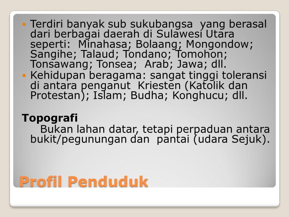 Profil Penduduk Terdiri banyak sub sukubangsa yang berasal dari berbagai daerah di Sulawesi Utara seperti: Minahasa; Bolaang; Mongondow; Sangihe; Talaud; Tondano; Tomohon; Tonsawang; Tonsea; Arab; Jawa; dll.
