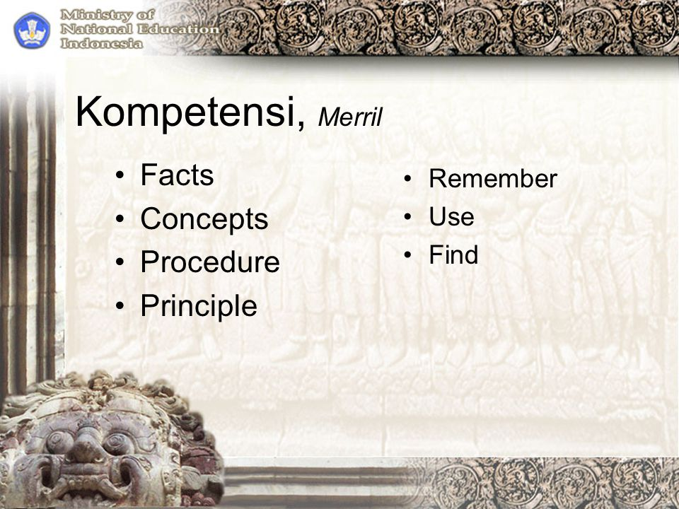 Kompetensi, Merril Facts Concepts Procedure Principle Remember Use Find