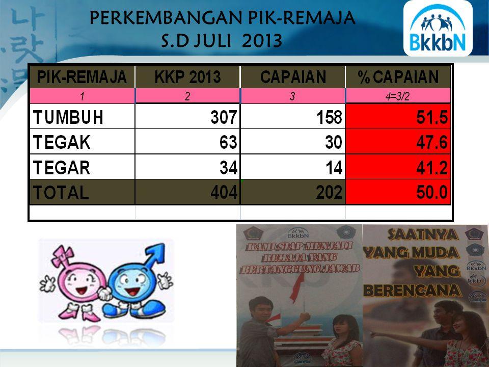 PERKEMBANGAN PIK-REMAJA S.D JULI 2013