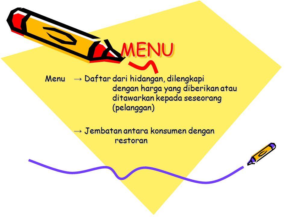 MENUMENU Menu → Daftar dari hidangan, dilengkapi dengan harga yang diberikan atau ditawarkan kepada seseorang (pelanggan) → Jembatan antara konsumen dengan restoran