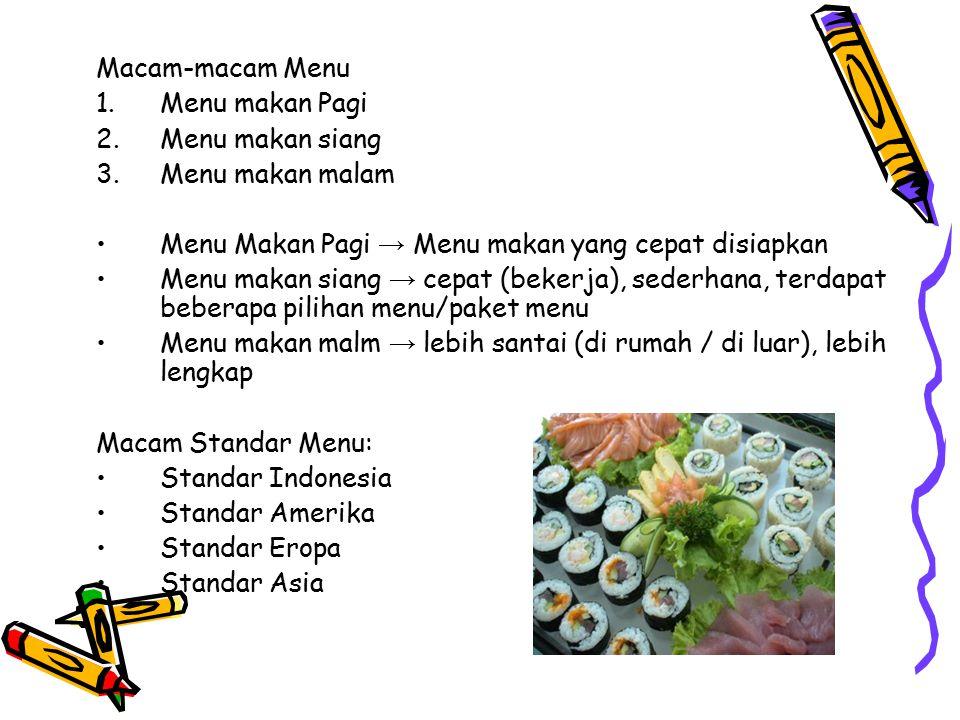MENUMENU Menu → Daftar dari hidangan, dilengkapi dengan harga yang diberikan atau ditawarkan kepada seseorang (pelanggan) → Jembatan antara konsumen d