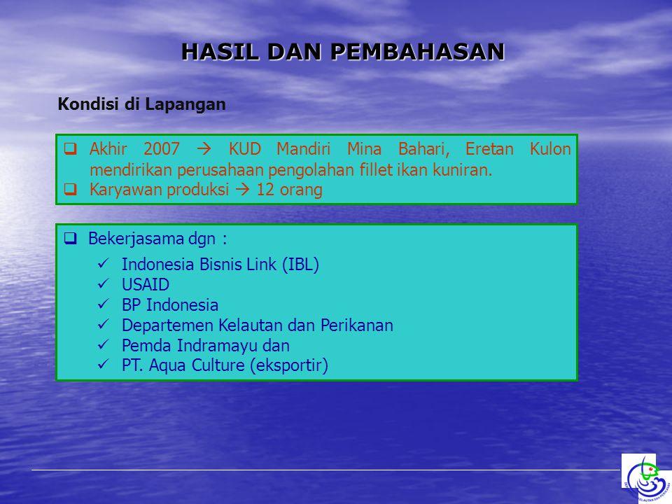 HASIL DAN PEMBAHASAN Kondisi di Lapangan  Akhir 2007  KUD Mandiri Mina Bahari, Eretan Kulon mendirikan perusahaan pengolahan fillet ikan kuniran. 