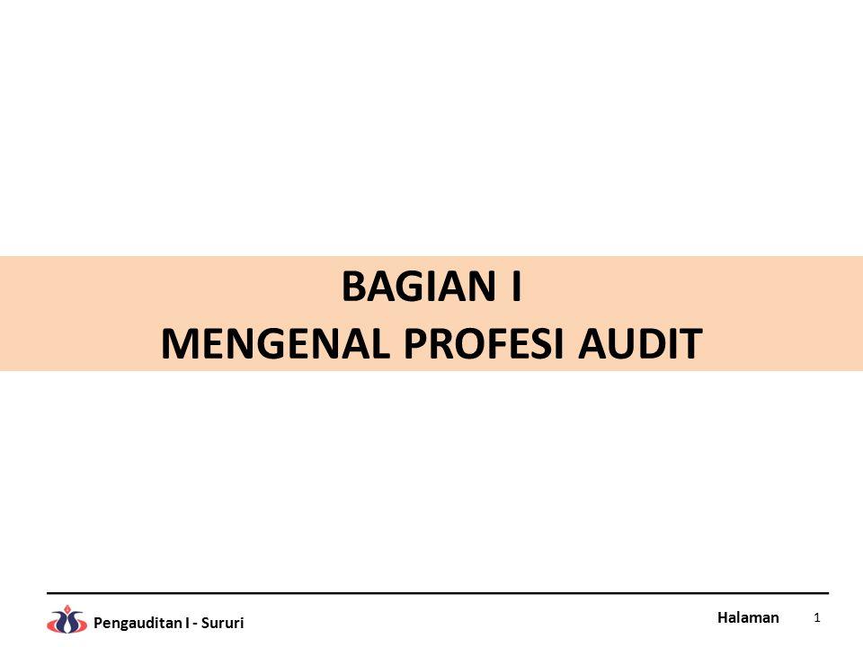 Halaman Pengauditan I - Sururi PENGERTIAN AUDIT Definisi Audit Audit adalah proses pengumpulan dan evaluasi bukti tentang informasi untuk menentukan dan melaporkan tingkat kesesuaian informasi dengan kriteria yang berlaku.