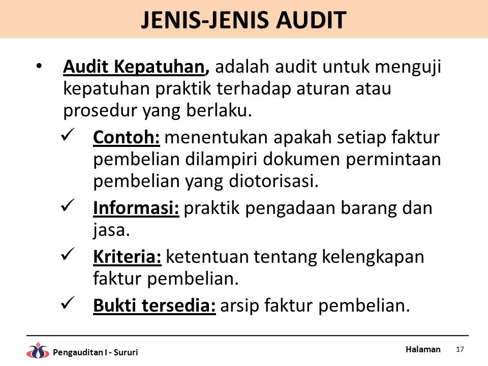 Halaman Pengauditan I - Sururi JENIS-JENIS AUDIT Audit Kepatuhan, adalah audit untuk menguji kepatuhan praktik terhadap aturan atau prosedur yang berlaku.