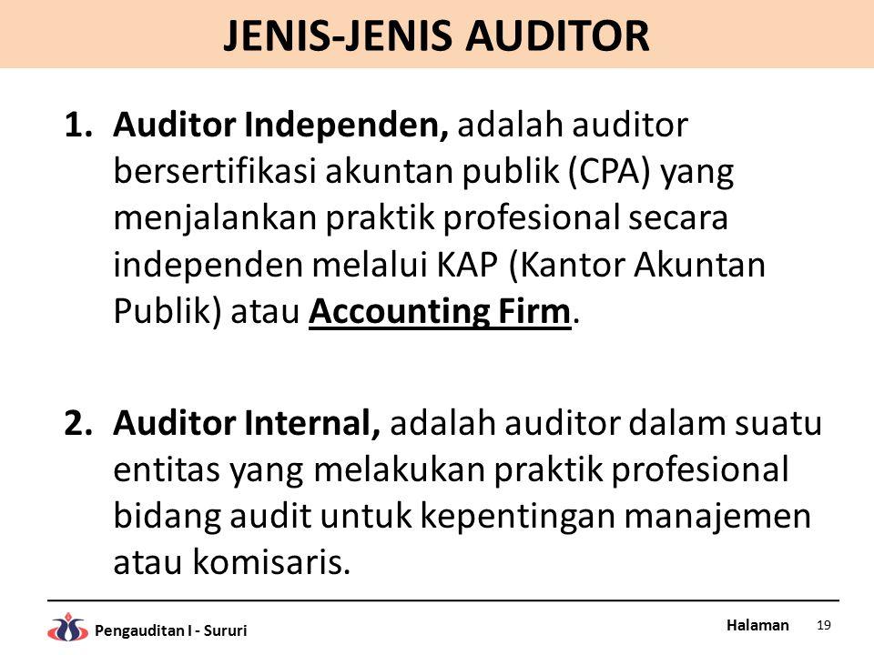 Halaman Pengauditan I - Sururi JENIS-JENIS AUDITOR 1.Auditor Independen, adalah auditor bersertifikasi akuntan publik (CPA) yang menjalankan praktik profesional secara independen melalui KAP (Kantor Akuntan Publik) atau Accounting Firm.