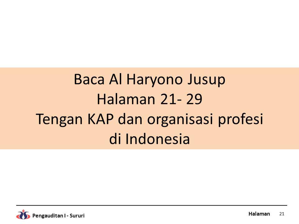 Halaman Pengauditan I - Sururi Baca Al Haryono Jusup Halaman 21- 29 Tengan KAP dan organisasi profesi di Indonesia 21