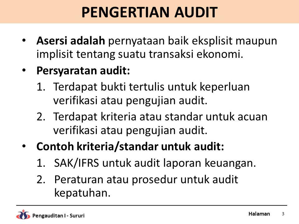 Halaman Pengauditan I - Sururi PENGERTIAN AUDIT Bukti audit (evidence), adalah informasi yang digunakan oleh auditor untuk menentukan tingkat kesesuaian informasi dengan kriteria yang berlaku.