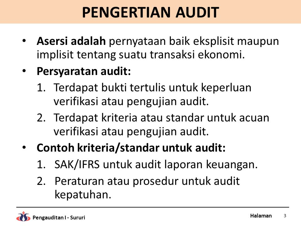 Halaman Pengauditan I - Sururi JASA ASURAN Contoh-contoh jasa atestasi lain: 1.Asesmen proses keputusan investasi untuk mengidentifikasi risiko investasi.