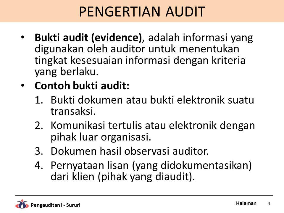 Halaman Pengauditan I - Sururi PENGERTIAN AUDIT Persyaratan bukti audit, adalah kompeten (berkualitas) dan memadai (jumlah mencukupi).