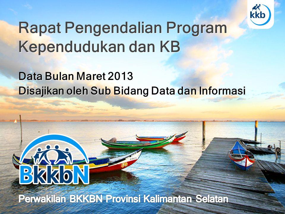 PERSENTASE PA MOP KAB/KOTA BULAN MARET 2013 PERWAKILAN BKKBN PROVINSI KALIMANTAN SELATAN KODEKABUPATEN/KOTA PESERTA KB BARU MOP KKPPENCAPAIAN% THD KKP 6301 Tanah Laut101275272,28% 6302 Kotabaru61111181,97% 6303 Banjar85126148,24% 6304 Barito Kuala68142208,82% 6305 Tapin44114259,09% 6306 Hulu Sungai Selatan3145145,16% 6307 Hulu Sungai Tengah39112287,18% 6308 Hulu Sungai Utara132345261,36% 6309 Tabalong4486195,45% 6310 Tanah Bumbu84174207,14% 6311 Balangan67120179,10% 6371 Kota Banjarmasin142486342,25% 6372 Kota Banjarbaru5277148,08% JUMLAH9502.213232,95%
