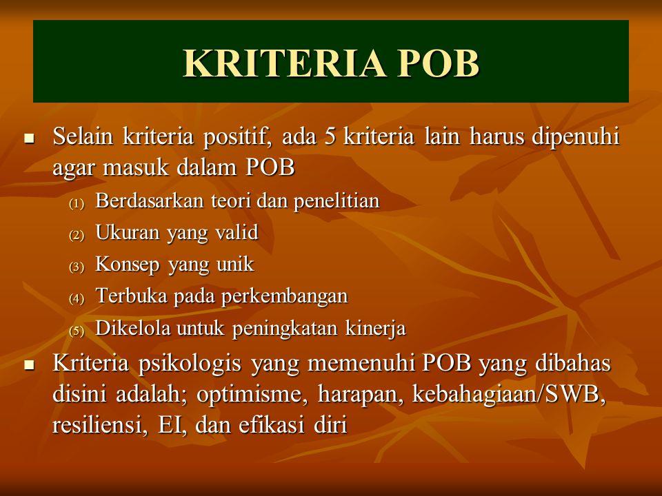 KRITERIA POB Selain kriteria positif, ada 5 kriteria lain harus dipenuhi agar masuk dalam POB Selain kriteria positif, ada 5 kriteria lain harus dipen