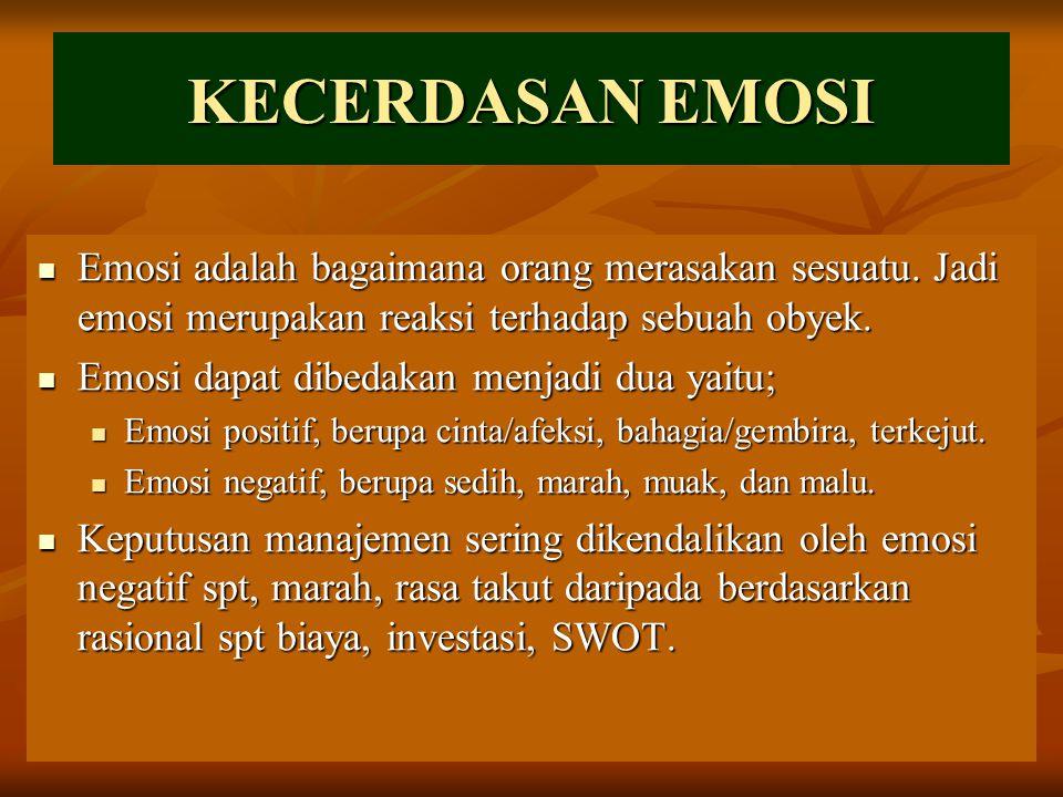 KECERDASAN EMOSI Emosi adalah bagaimana orang merasakan sesuatu. Jadi emosi merupakan reaksi terhadap sebuah obyek. Emosi adalah bagaimana orang meras