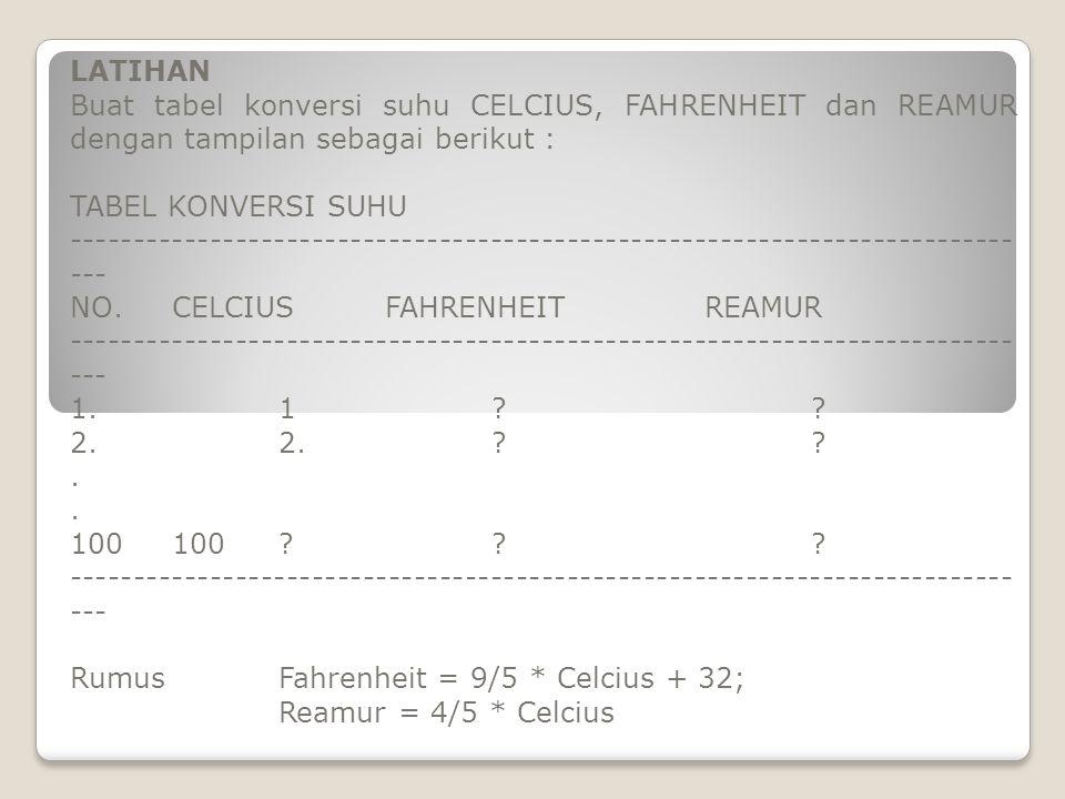 LATIHAN Buat tabel konversi suhu CELCIUS, FAHRENHEIT dan REAMUR dengan tampilan sebagai berikut : TABEL KONVERSI SUHU -------------------------------------------------------------------------- --- NO.CELCIUS FAHRENHEITREAMUR -------------------------------------------------------------------------- --- 1.1?.