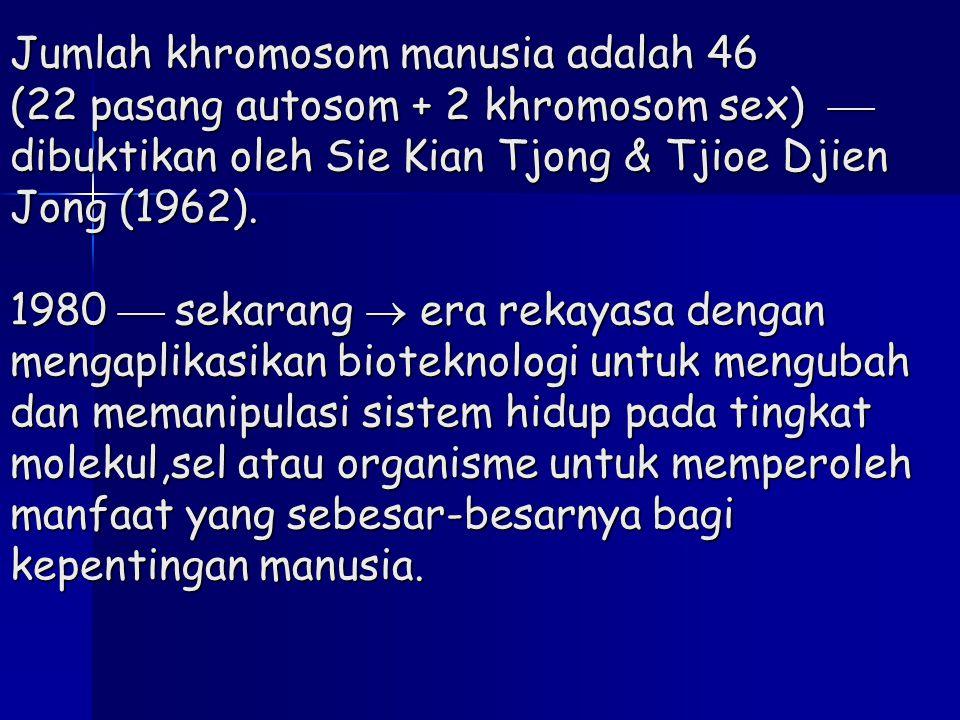 Jumlah khromosom manusia adalah 46 (22 pasang autosom + 2 khromosom sex)  dibuktikan oleh Sie Kian Tjong & Tjioe Djien Jong (1962). 1980  sekarang 