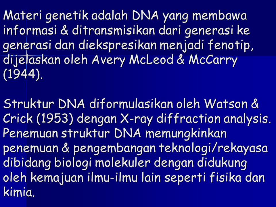 Materi genetik adalah DNA yang membawa informasi & ditransmisikan dari generasi ke generasi dan diekspresikan menjadi fenotip, dijelaskan oleh Avery M