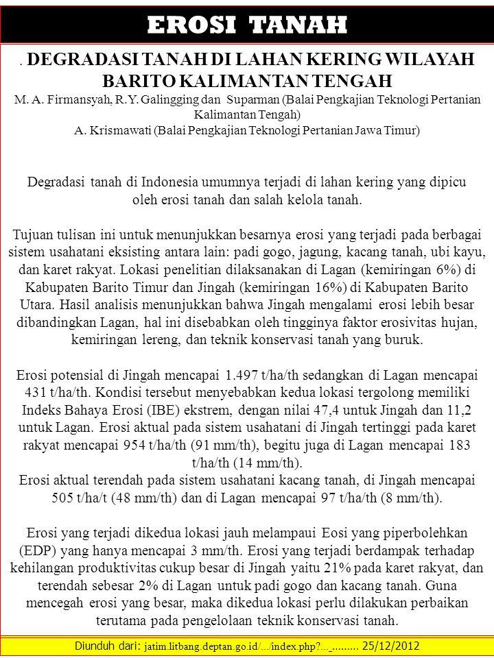 Diunduh dari: jatim.litbang.deptan.go.id/.../index.php?... ……… 25/12/2012 EROSI TANAH. DEGRADASI TANAH DI LAHAN KERING WILAYAH BARITO KALIMANTAN TENGA