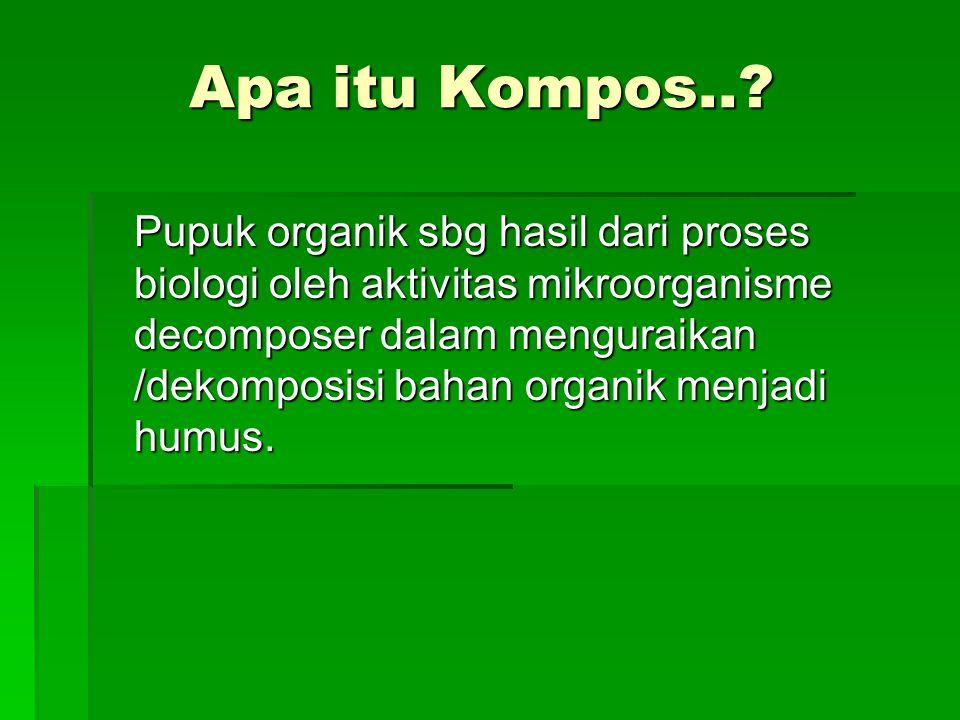 Apa itu Kompos..? Pupuk organik sbg hasil dari proses biologi oleh aktivitas mikroorganisme decomposer dalam menguraikan /dekomposisi bahan organik me