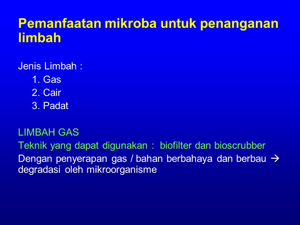 BIOSTIMULASI, contoh : 1.Menambah N, P 2.Menambah co-substrat : menginjeksikan methane untuk mendegradasi trichloroethylene karena polutan tsb didegradasi oleh enzim dari m.o dg adanya ko- substrat 3.Menambah akseptor elektron : oksidasi bahan organik di dalam tanah yang kelarutan O 2 nya sangat kecil  bioventing (injeksi udara) atau penambahan nitrate 4.Menambah surfaktan : hidrokarbon dan non aqueous phase liquid tidak dapat dicerna oleh m.o  penambahan surfaktan akan mencampurkan senyawa hidrofobik ke dalam fase air