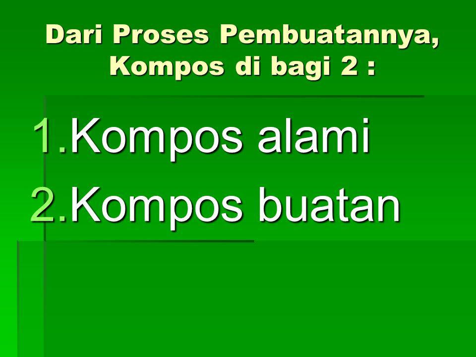 Dari Proses Pembuatannya, Kompos di bagi 2 : 1.Kompos alami 2.Kompos buatan