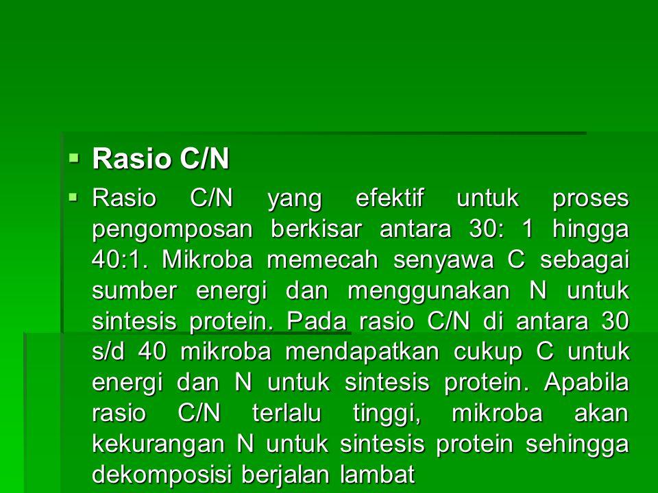  Rasio C/N  Rasio C/N yang efektif untuk proses pengomposan berkisar antara 30: 1 hingga 40:1. Mikroba memecah senyawa C sebagai sumber energi dan m
