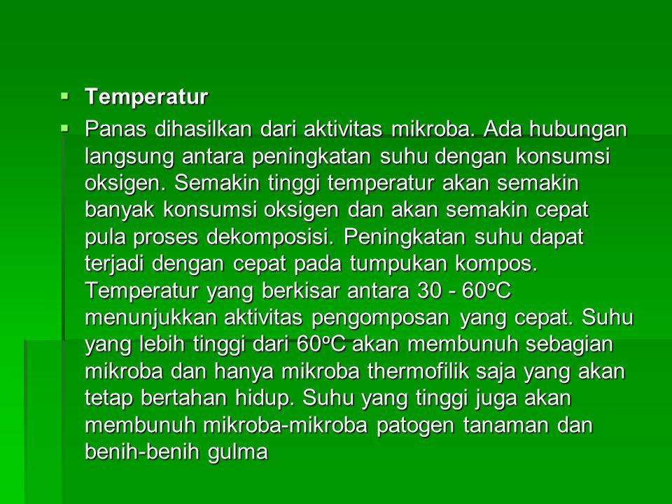  Temperatur  Panas dihasilkan dari aktivitas mikroba. Ada hubungan langsung antara peningkatan suhu dengan konsumsi oksigen. Semakin tinggi temperat