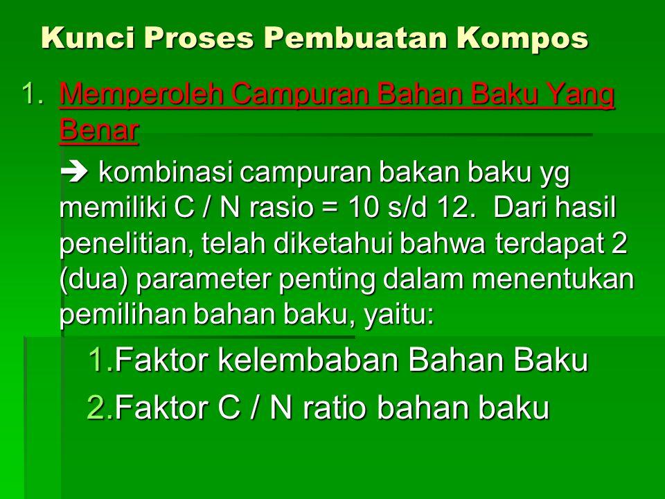 Kunci Proses Pembuatan Kompos 1.Memperoleh Campuran Bahan Baku Yang Benar  kombinasi campuran bakan baku yg memiliki C / N rasio = 10 s/d 12. Dari ha