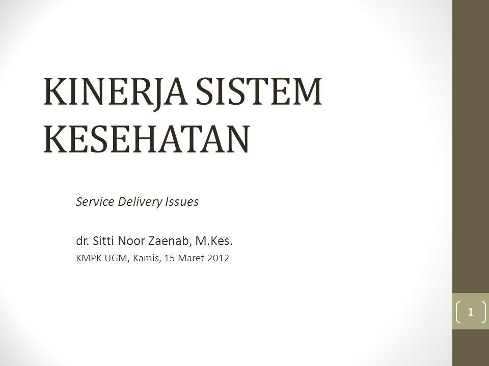 KINERJA SISTEM KESEHATAN Service Delivery Issues dr. Sitti Noor Zaenab, M.Kes. KMPK UGM, Kamis, 15 Maret 2012 1