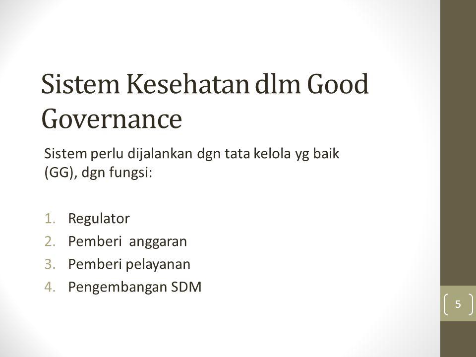 Sistem Kesehatan dlm Good Governance Sistem perlu dijalankan dgn tata kelola yg baik (GG), dgn fungsi: 1.Regulator 2.Pemberi anggaran 3.Pemberi pelaya