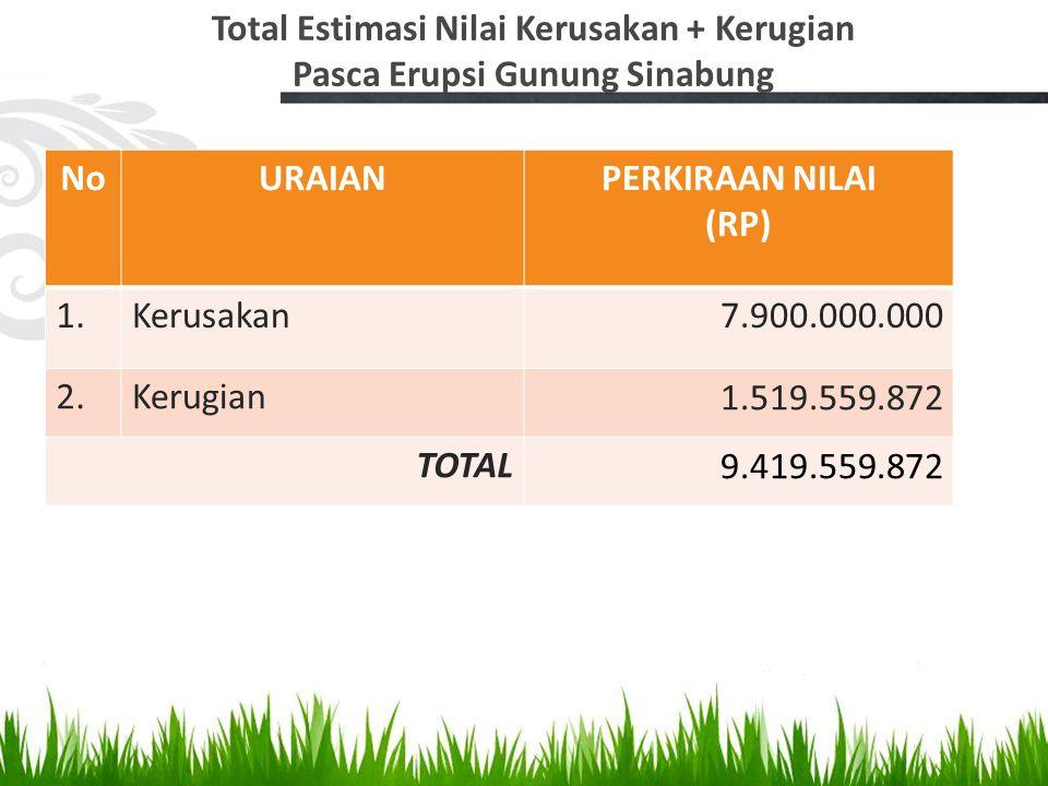 Total Estimasi Nilai Kerusakan + Kerugian Pasca Erupsi Gunung Sinabung NoURAIANPERKIRAAN NILAI (RP) 1.Kerusakan7.900.000.000 2.Kerugian1.519.559.872 T