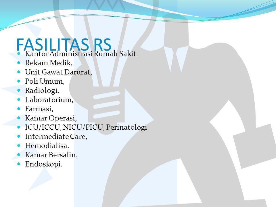 FASILITAS RS Kantor Administrasi Rumah Sakit Rekam Medik, Unit Gawat Darurat, Poli Umum, Radiologi, Laboratorium, Farmasi, Kamar Operasi, ICU/ICCU, NI