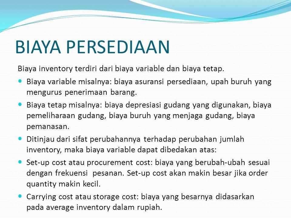 BIAYA PERSEDIAAN Biaya inventory terdiri dari biaya variable dan biaya tetap. Biaya variable misalnya: biaya asuransi persediaan, upah buruh yang meng