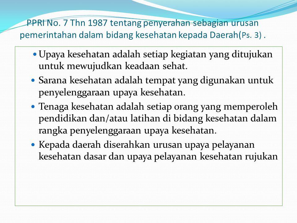 PPRI No. 7 Thn 1987 tentang penyerahan sebagian urusan pemerintahan dalam bidang kesehatan kepada Daerah( Ps. 3). Upaya kesehatan adalah setiap kegiat
