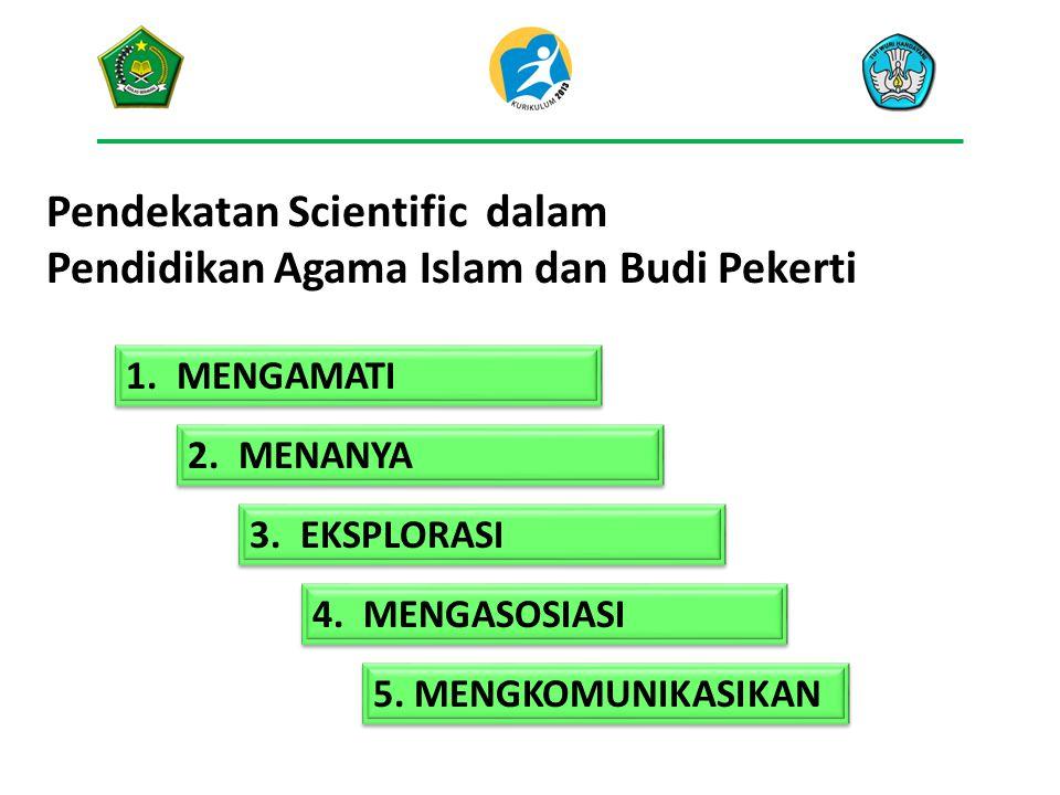 Pendekatan Scientific dalam Pendidikan Agama Islam dan Budi Pekerti 1. MENGAMATI 2. MENANYA 3. EKSPLORASI 4. MENGASOSIASI 5. MENGKOMUNIKASIKAN