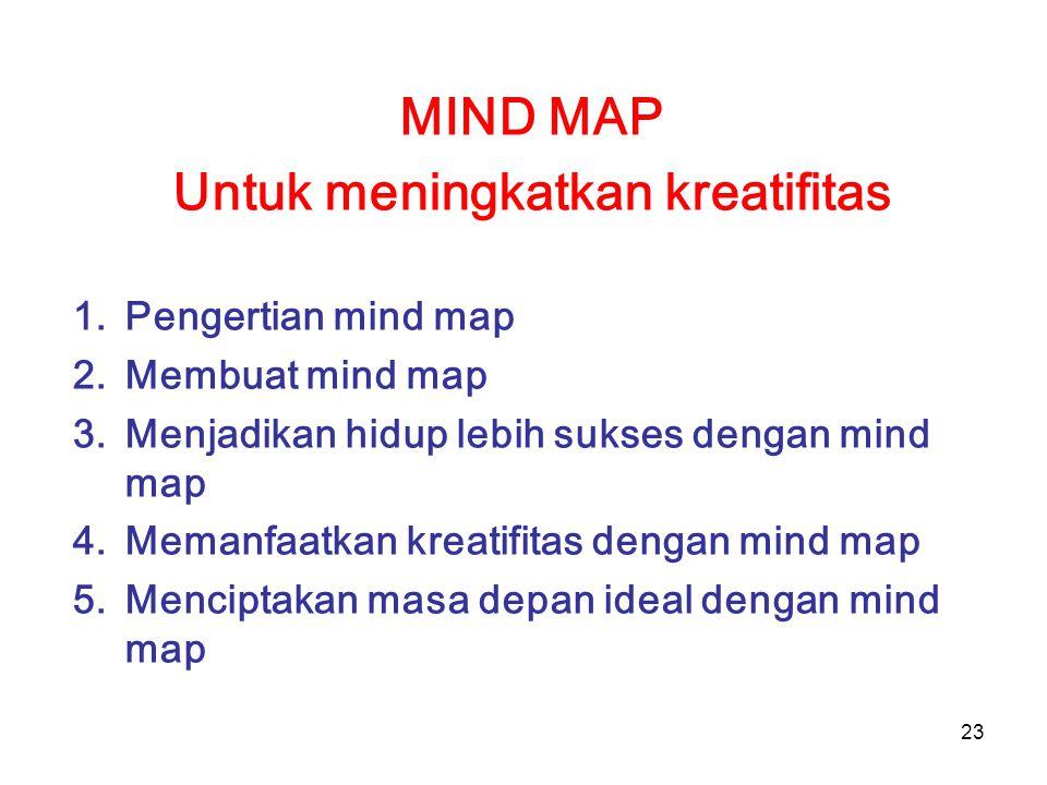 23 MIND MAP Untuk meningkatkan kreatifitas 1.Pengertian mind map 2.Membuat mind map 3.Menjadikan hidup lebih sukses dengan mind map 4.Memanfaatkan kre