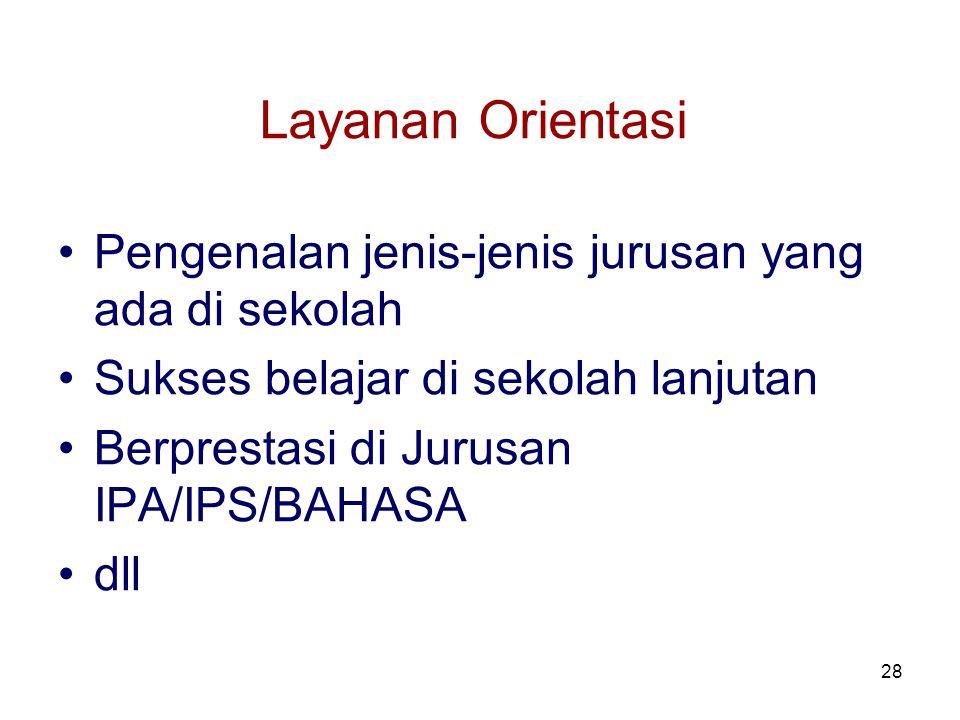 28 Layanan Orientasi Pengenalan jenis-jenis jurusan yang ada di sekolah Sukses belajar di sekolah lanjutan Berprestasi di Jurusan IPA/IPS/BAHASA dll