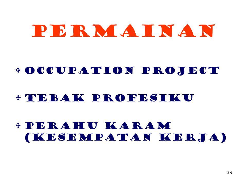 39 Permainan Occupation Project Tebak Profesiku Perahu karam (kesempatan Kerja)