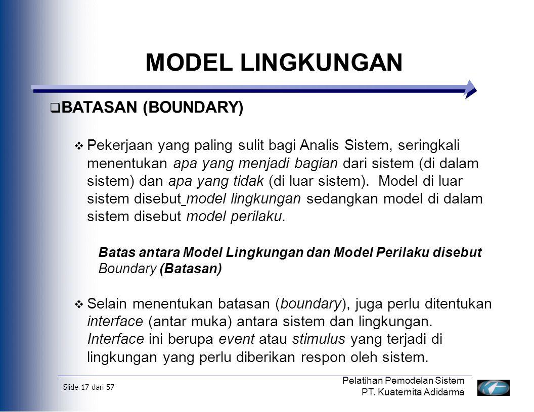 Slide 18 dari 57 Pelatihan Pemodelan Sistem PT.