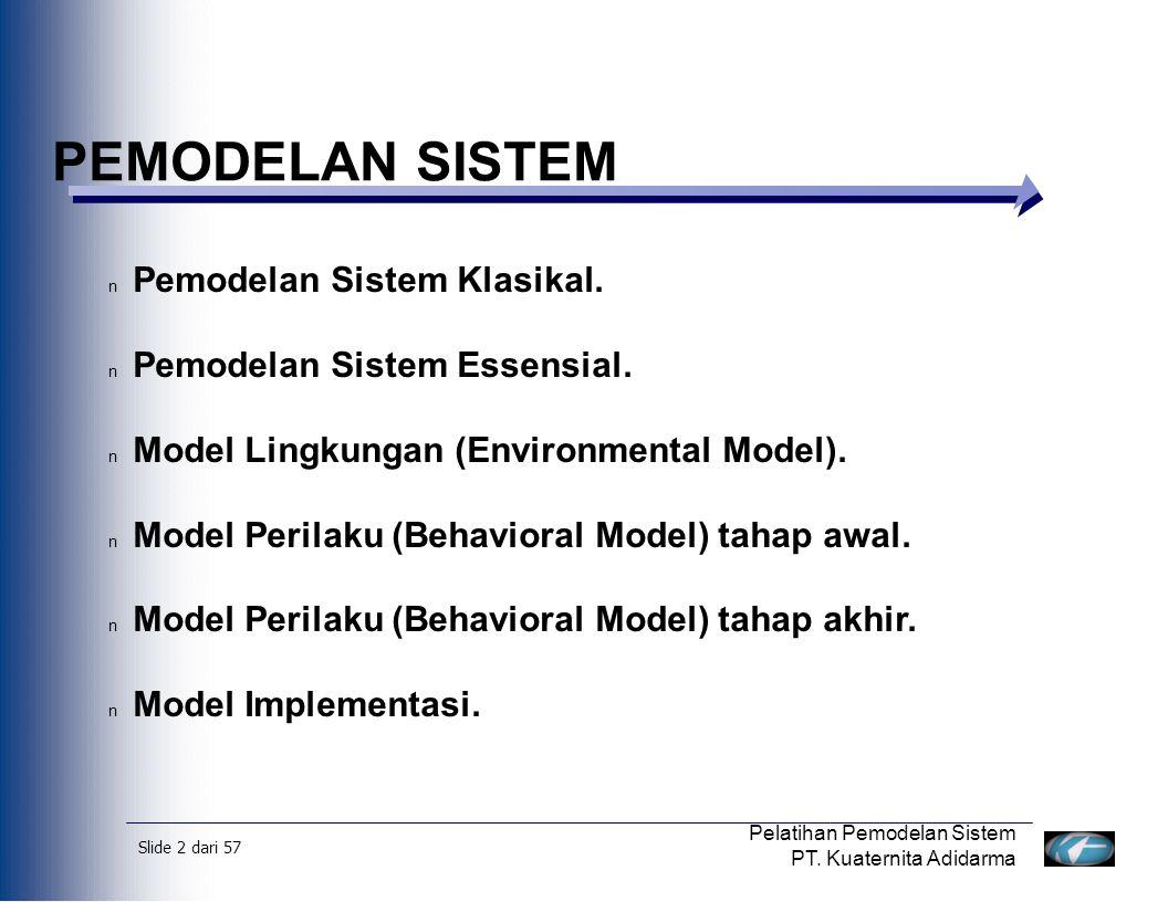 Slide 3 dari 57 Pelatihan Pemodelan Sistem PT.