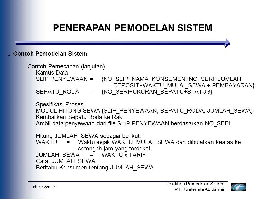 Slide 57 dari 57 Pelatihan Pemodelan Sistem PT. Kuaternita Adidarma  Contoh Pemodelan Sistem – Contoh Pemecahan (lanjutan) l Kamus Data SLIP PENYEWAA
