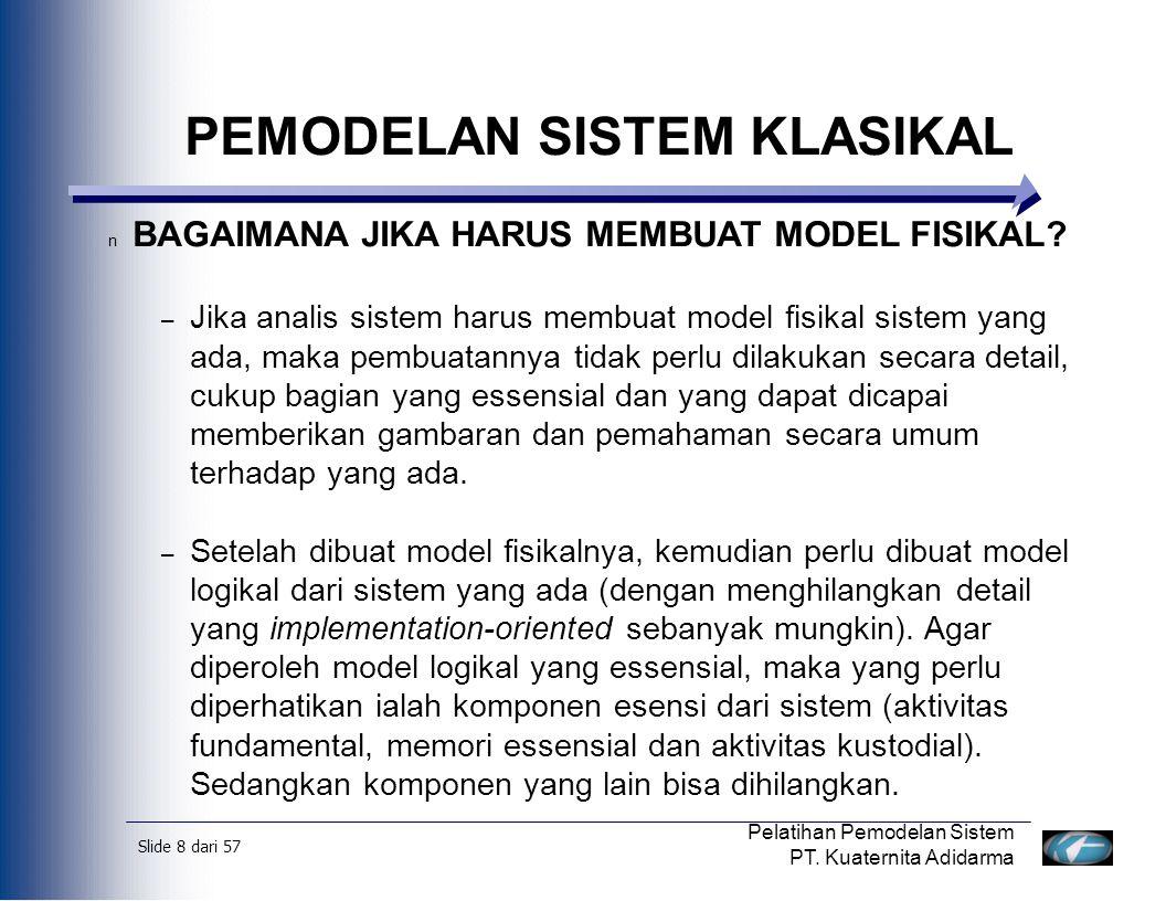 Slide 9 dari 57 Pelatihan Pemodelan Sistem PT.