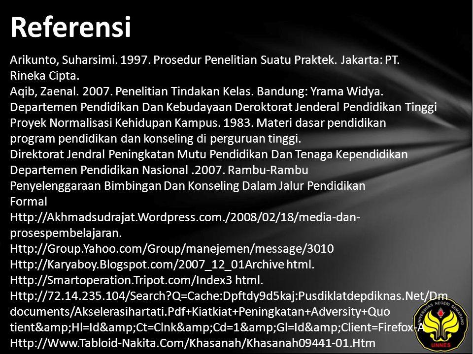 Referensi Arikunto, Suharsimi. 1997. Prosedur Penelitian Suatu Praktek.