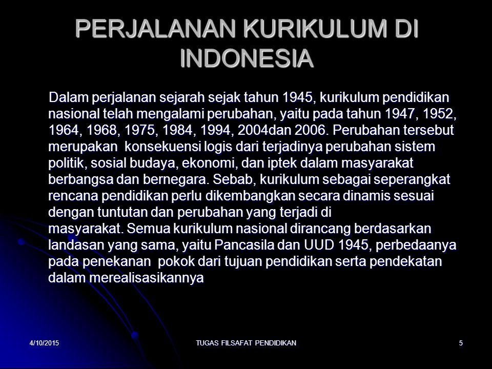 PERJALANAN KURIKULUM DI INDONESIA Dalam perjalanan sejarah sejak tahun 1945, kurikulum pendidikan nasional telah mengalami perubahan, yaitu pada tahun