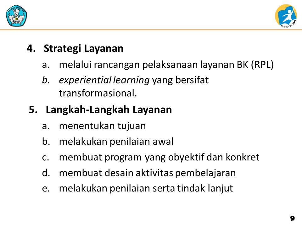 4.Strategi Layanan a.melalui rancangan pelaksanaan layanan BK (RPL) b.experiential learning yang bersifat transformasional.