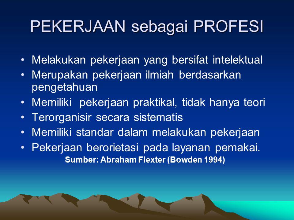 PEKERJAAN sebagai PROFESI Melakukan pekerjaan yang bersifat intelektual Merupakan pekerjaan ilmiah berdasarkan pengetahuan Memiliki pekerjaan praktika