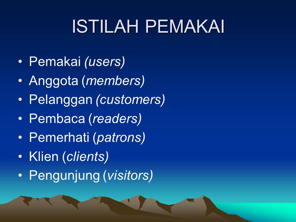 ISTILAH PEMAKAI Pemakai (users) Anggota (members) Pelanggan (customers) Pembaca (readers) Pemerhati (patrons) Klien (clients) Pengunjung (visitors)
