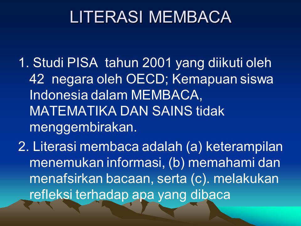 LITERASI MEMBACA 1. Studi PISA tahun 2001 yang diikuti oleh 42 negara oleh OECD; Kemapuan siswa Indonesia dalam MEMBACA, MATEMATIKA DAN SAINS tidak me