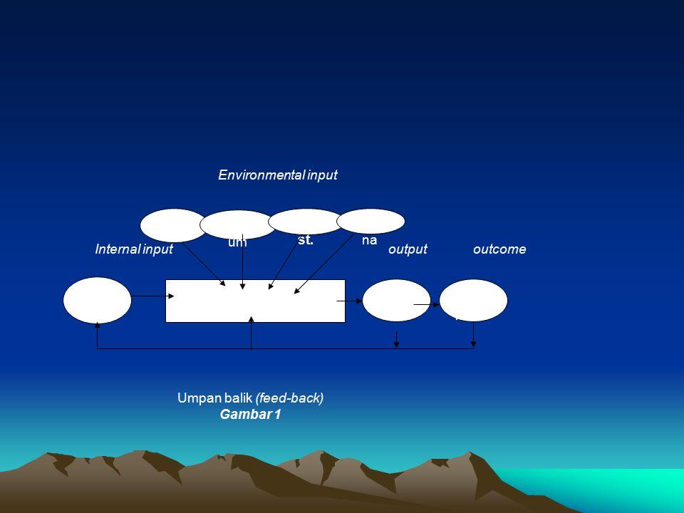 Sisw a PROSES Guru Kurikul um Perpu st. Luara n Dam pak Sara na Environmental input Internal input output outcome Umpan balik (feed-back) Gambar 1